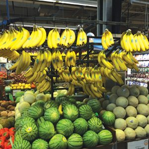 Whole Foods Bananas and Melon display