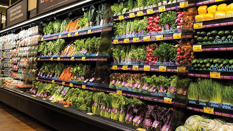 grocery shelves stocked with organic fruits and vegetables